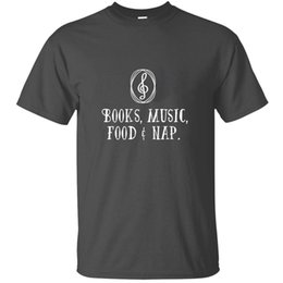 food t shirts Australia - Knitted Funny Casual Music - Books, Music, Food T-Shirt Cotton Cool O Neck Clothing Tshirts 2019 Camisetas Hip Hop
