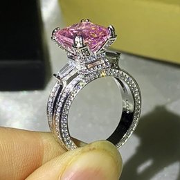pink pave ring UK - Size 5-10 Luxury Jewelry Stunning 925 Sterling Silver Big Pink Sapphire CZ Diamond Gemstones Eternity Eiffel Tower Women Wedding Band Ring