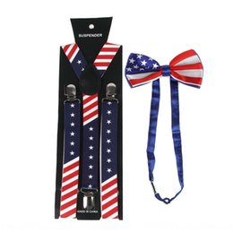men clip bow ties UK - Hot-selling suspenders sling Butterfly sling American flag strap clip + bow tie suit unisex suspenders