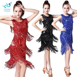 modern dance clothing Canada - hp1Xv Square tassel Stage clothes dancing clothes clothing clothing dress adult Latin dance adult modern stage costume New Sequins dance cos