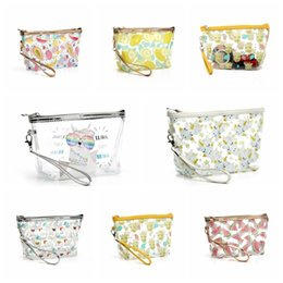 wholesale clear pvc cosmetic bag Canada - Waterproof Transparent Cosmetic Cute Bags Storage Pouch Makeup Organizer Approved Clear Case Toiletry Bag PVC Zipper Travel Free Shipping