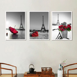 paris street paintings Australia - Wall Art Pictures Eiffel Tower Red Umbrella On Paris Street Modern Urban Landscape Poster Canvas Painting Living Room Decor gift