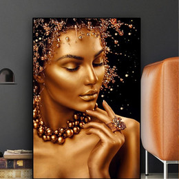 classical paintings women NZ - Black and Gold Sexy Nude Art African Woman Portrait Canvas Painting Classical Body Art Poster Prints Modern Abstract Wall Picture Room Decor