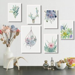 Succulent Plants Nordic Poster Leaf Cactus Flowers Wall Art Print Posters And Prints Canvas Painting Wall Pictures Home Decor on Sale
