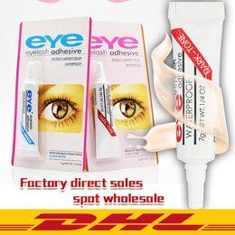 Venta al por mayor de El más nuevo maquillaje del latigazo del ojo del pegamento adhesivo impermeable Negro Blanco pestañas falsas Adhesivos cola blanca y Negro DHL Disponible