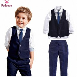 kids blazers UK - 3pcs Kid Baby Boy Clothes Set Gentleman Boy Formal Suit Vest Tops Shirt Long Pants Clothing Sets Blazers Outfits QFyA#