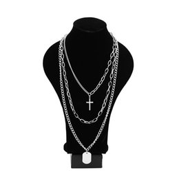 necklace three crosses Canada - Bounce Di Girl Hip Hop Boy Three Layer Necklace Splittable Stainless Steel Cross Necklace