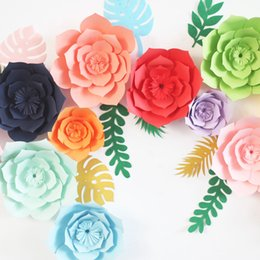 birthday party room decorations NZ - Rosequeen Paper Flower Dessert Desk Decoration for Birthday Party Wedding Room DIY Window Wall Decoration Flowers