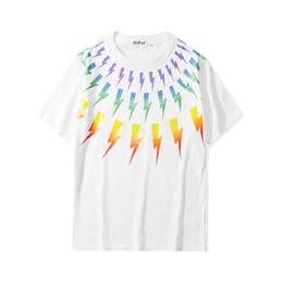 Wholesale rainbow t shirt for sale – custom 2020 summer fashion new short sleeved T shirt Short Sleeve Street Tees Shirt rainbow stripe Casual Tops men s shirt T shirt S XXL