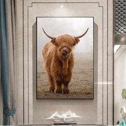 modern decorative frames Canada - Nordic Nature Landscape Canvas Painting Cattle Poster and Printing Wall Art Pictures For Living Room Modern Decorative Unframed