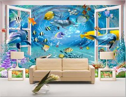 scenery paintings for living room Australia - Custom photo wallpapers for walls 3d Dolphin mural 3D window scenery underwater world fantasy mural for living room background wall painting