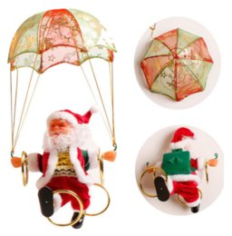 santa claus decoration parachute Canada - Electric Christmas Santa Claus Toys Hanging Rotation Parachute Turn Musical Pendant child Electric Toy Partyware