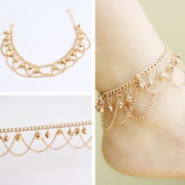 double bell UK - Alloy anklet boho gold fashion wild double-layer tassel ankle jewelry bell shape women's summer beach holiday decoration