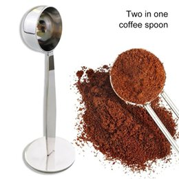 tea coffe UK - 2 in 1 Coffee beans Spoon Coffe Measuring Tamping Scoop Coffee Tamper Black Espresso Stand Kitchen Bar Coffee&Tea Tools