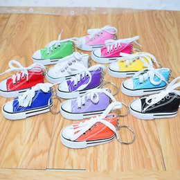 sport shoe key chains UK - Canvas Shoes Keychains Sport Tennis Shoe Key Chain 3D Novelty Casual Colorful Shoes Key Chains Holder Handbag Pendant Gifts 7.5cm Toys