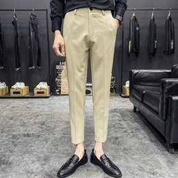 style dress trousers UK - Khaki Black Men's Suit Pants 2020 British Style Classic Business Dress Pants Streetwear Casual Wedding Trousers Costume Homme F7g4#