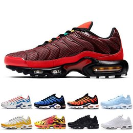 cheap purple shoes for men Canada - New arrival TN plus SE running shoes for mens triple black Black Volt Solar Red University red men cheap outdoor sports sneaker