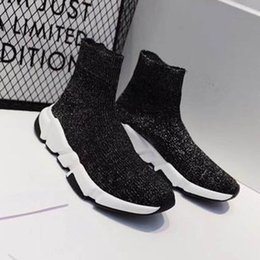 stretch canvas prints Canada - New Speed Sock Boots Casual shoes High Quality Speed Sneakers Men Women Shoes Speed Stretch-knit Mid Sneakers Size35-45 H2