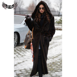 real furs coats NZ - BFFUR Winter Fur Coat Women 120 cm Long Real Coats With Big Hood Natural Jackets Luxury Overcoats Plus Size