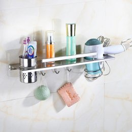 polishing hair UK - Multi-function 304 Stainless Steel Bathroom Shelf Wall Mounted Hair Dryer Holder Comb Storage with Hooks 38 48 Cm Polish Finish
