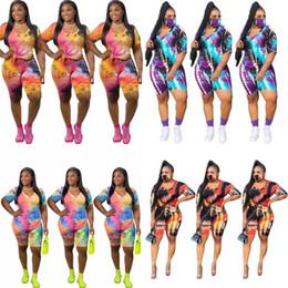 Wholesale tie dye kits resale online - Short Sleeves Sets Tie Dyed T Shirt Suit Trousers Bandhnu Clothes Blouse Pant Kit Female Ladies Summer Casual Outdoors an C2