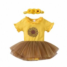baby lace bodysuit UK - Newborn Infant Baby Girl Clothes Romper Bodysuit Dresses Lace Tutu Dress Sassy Summer Outfit with Sunflower Headband wgPP#