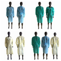 Опт Нетканые Защитная одежда Одноразовая Изоляция мантий Одежда Костюмы против пыли Открытый Защитная одежда одноразовая Плащи RRA3315
