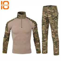 Discount paintball uniforms army TENNEIGHT Tactical uniform Army clothing men's paintball sport Frog camouflage suit hunting shirts tactical pants