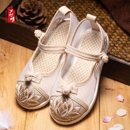 shoes cloth straps UK - Girls Sandals Embroidered Shoes Hanfu Children's Shoes Summer Costume Ethnic Net Cloth Performance