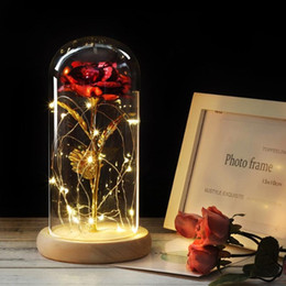 christmas glass gifts Australia - Dropshipping Red Rose In A Glass Dome On A Wooden Base For Valentine's Gifts LED Rose Lamps Christmas prese
