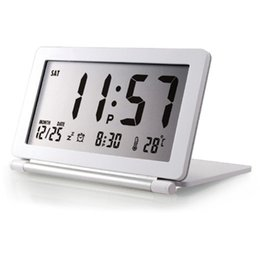 flip electronics NZ - LCD Display Alarm Clock Temperature Home Desk Folding Silent Mini Digital Office Electronic Flip Travel Calendar