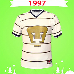 Wholesale mexican shirts for sale - Group buy 1997 Retro Mexican Football Club UNAM lion soccer jerseys home classic camiseta Vintage white football shirts dhl
