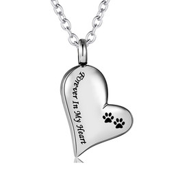 cremation jewelry silver 2021 - Stainless Steel Silver Paw print Cremation Jewelry Pet Dog Cat Forever in My Heart Ashes Keepsake Urns Pendant Necklace for Women