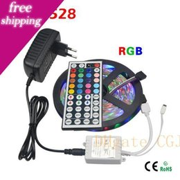 12v dc controller Australia - 5m Rgb 3528 Smd Led Flexible Strip Light 60leds  M With 44key Ir Remote Controller And Dc 12v 3a Power Adapter Home Decoration