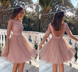 dusty pink lace dresses UK - Glitter Dusty Pink Sequin Cheap Homecoming Prom Dress Knee Length Long Sleeves Open Back Ruched Party Graduation Cocktail Dress