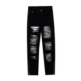 Wholesale men skinny jeans zippers ankle resale online – designer 3M Reflective Hole Washed Jeans Pants Men Streetwear Retro Plus Size Denim Trousers Ankle Zipper Casual Pants