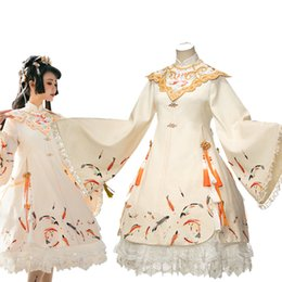 Wholesale cute costume dresses for women for sale – halloween New Chinoiserie Lolita Dress Cosplay Costume Views Halloween costumes for women Cute creamy white Costume Style Dress