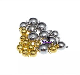 round silver magnetic balls UK - 1G92d DIY accessories golden silver lobster smooth ball Diy Accessories necklace round magnetic iron bracelet necklace buckle connection buc