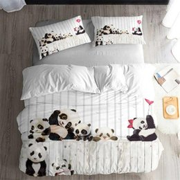 panda covers NZ - Cute Panda Bedding Set Bedroom Decor Hypoallergenic Quilt Cover Kids Teens Gifts Bedspreads 1PC Duvet Cover with Pillowcase