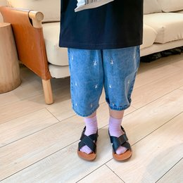 Wholesale embroidered ankle jeans resale online - FCwaL Left Ankle length pants and jeans left Prince children s clothing Summer new Korean style boys and girls embroidered jeans childr