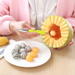 fruit ball spoon Australia - Stainless Steel Fruit Digging Device Watermelon Digging Ball Spoon Artifact Cantaloupe Splitter Carved Knife Platter Tool Free DHL XD20548