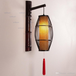 vintage lantern lamp UK - Vintage Bamboo Wall Lamp China Style Lantern Sconce Aisle Foyer Bistro Doorway Corridor Teahouse Bedside Handmade Retro Lighting