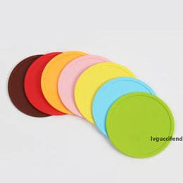 bar table accessories UK - Round Silicone Non-slip Drink Coaster 10CM Silicone Rubber Coffee Cup Pad Mats Wine Glass Bottle Placemat Colorful Home Bar Table Accessory