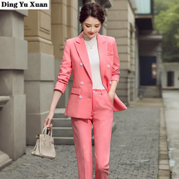 women business trouser suits NZ - Women Business Suits Office Double Breasted Blazer Sets Beige Pink Black Work Pant Suits Formal Autumn Buttons Jacket Trouser