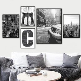 Wholesale ink city for sale – custom Nordic Black White City Landscape Wall Art Poster Bridge Canvas Print Painting Decoration Pictures for Living Room Home Decor