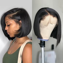 lace wigs wholesale UK - 2020 Short Human Hair Wigs Lace Frontal Wig Straight Bob Lace Front Wigs Brazilian Lace Front Human Hair Wigs
