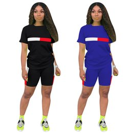 girls black running shorts NZ - 1 Short Sleeve T Shirt+1 Short Pants Clothes Black Style Women's Tracksuits Girls Sets Ladies Casual Running Clothing Adult Sportswear Suit