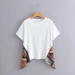 Wholesale women t shirts ethnic online – M5419 style women s national shirt clothing Summer new round neck ethnic style printed stitching short sleeved T shirt for women