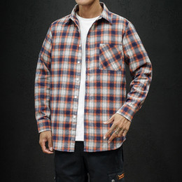 Wholesale shirt flannel for sale - Group buy Men s Plaid Flannel Shirt Slim Fit Soft Spring Male Shirt Brand Men s Business Casual Long sleeved Shirts Plus Size Dropship