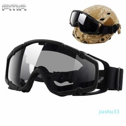 fma helmet NZ - luxury- FMA Helmet Goggles Tactical Ballistic Anti-Fog Goggles Safety Glasses for Helmets with Side Rails BK&Clean Lens